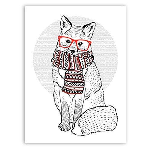 Poster meerdere leuke vos met hipster bril retro sjaal dieraffiche canvas schilderij afbeelding kunst wanddecoratie 50 x 70 cm.