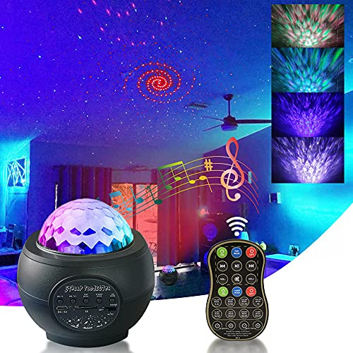 3 in 1 ocean wave star projector l-e-d nebulanight light projector with blue-tooth light nebula cloud music-speaker star projector remote control starry for kids bedroom party(BLACK)