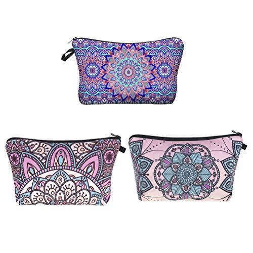 Lurrose Support de poche de maquillage de voyage numérique 3D sac de stockage de cosmétiques avec fermeture à glissière (couleur mélangée)