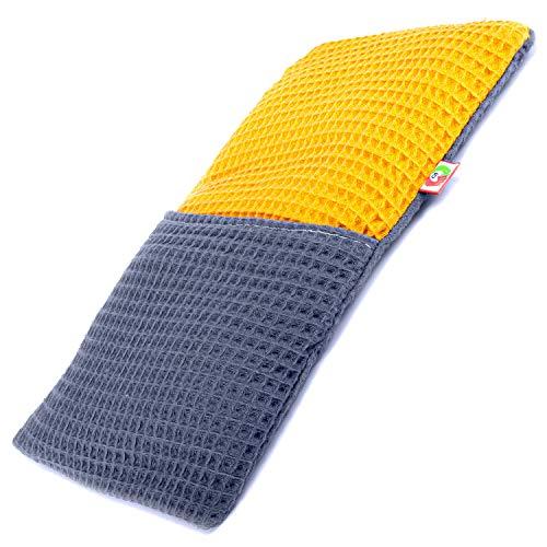 Saco Térmico Semillas Multiusos - Almohada para Calentar en Microondas (30x17 cm) - Bolsa de Calor - Cojín de Semillas con Funda Lavable, Tela de Algodón 100% y Olor a Lavanda (Gofre)