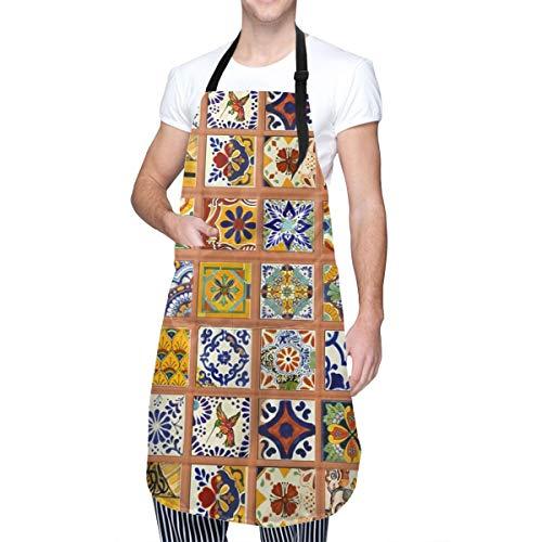 ULQUIEOR Talavera - Delantal de azulejos mexicanos con bolsillos, impermeable, ajustable, para cocina, barbacoa, dibujo, cocina