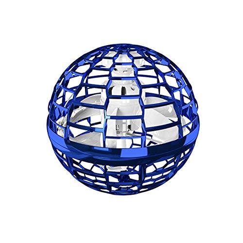 Adaskala Juguete Volador de inducción, vehículo Volador, rotación de 360 Grados y Luces RGB, un Regalo para niños Adultos (Azul)