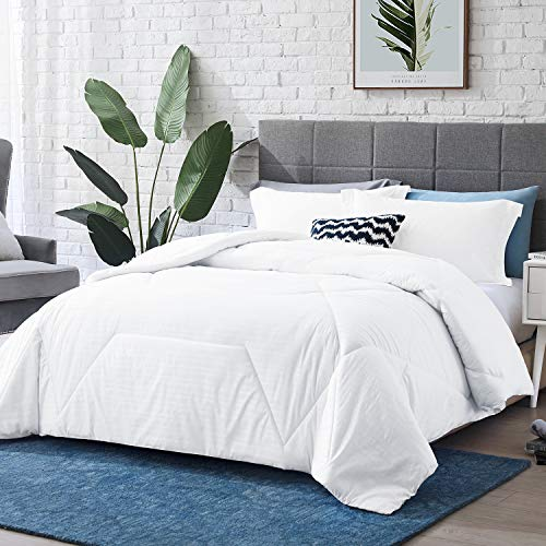 "Hansleep Comforter Set, Embossed Bedding Set Ultra Soft Breathable Down Alternative Duvet Insert with Pillow Sham, Machine Washable (White, Full/Queen 90x90"")"