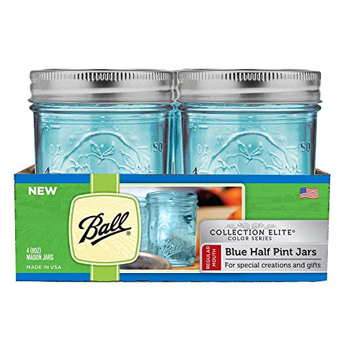Ball Mason Quilted Jelly Jars mit Deckel und Baands, 113 ml, 12 Stück Kollektion Elite, 4er-Pack RM Half Pint blau