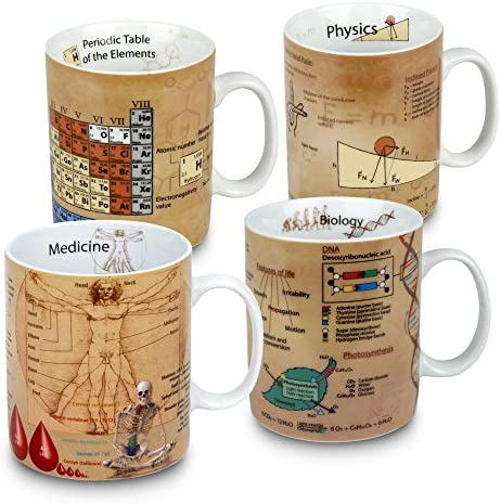 Konitz Assorted Mugs of Knowledge Set of 4 Astronomy Biology Chemistry Math 15 Ounce Muti product image