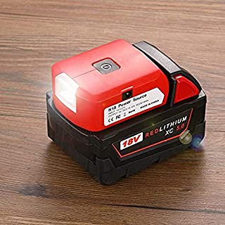 For Milwaukee Battery Adapter with Dual USB & DC Port & Work Light - Power Source Charger for Milwaukee M18 Lithium Battery…