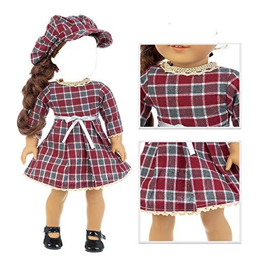 H.aetn Encantadores Trajes y Accesorios para muñecas de Moda de 18 Pulgadas, Ropa para muñecas, Vestidos para niñas, Juguetes para Regalos, muñecas, no Incluye muñecas ni Zapatos (Vestido Rojo Vino)