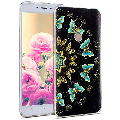 Uposao Kompatibel mit Hülle Xiaomi Redmi Note 4X Silikon Handyhüllen Schöne Muster Durchsichtige Ultradünn Schutzhülle Transparent Silikon Bumper Clear Backcover,Schmetterling