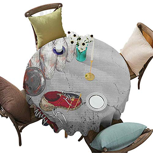 Bowling Party Tablecloth, Bowling Shoes Pins and Ball in Artistic Grunge Style Print, 67 Inch Round Washable Table Cover for Indoor and Outdoor, Pale Grey Red and Dark Blue