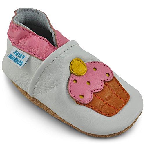 Juicy Bumbles - Weicher Leder Lauflernschuhe Krabbelschuhe Babyhausschuhe mit Wildledersohlen. Junge Mädchen Kleinkind- Gr. 12-18 Monate (Größe 22/23)- Cupcake