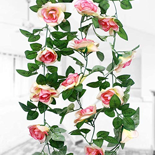 HQdeal 16 Silk Roses(1Pack), 2.3M Artificial Flower, Fake Rose Vine Flowers Plants Garland, Vine with Green Leaves for Home Wedding Decor Garden Party Wall Decoration (Champagne Rose)