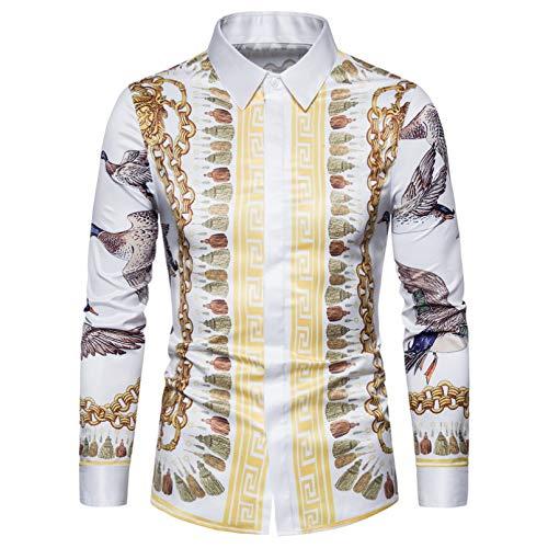 Owenqian Męskie koszule, koszula męska, koszula w paski w paski męska na co dzień z długim rękawem kieszeń męskie koszulki kontrastowe patchwork oversize męskie biały L