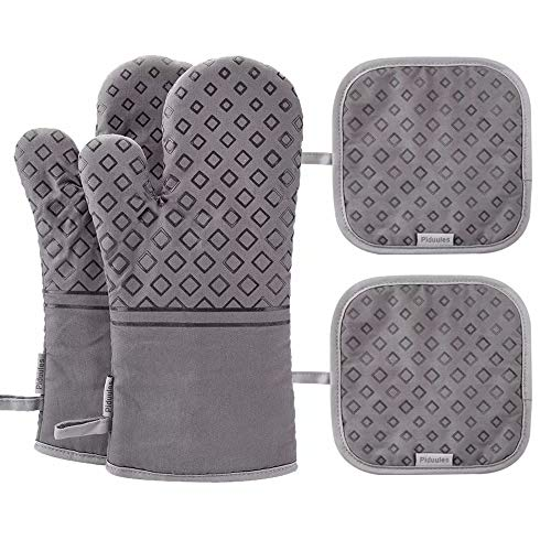 Piduules Set of 4 Oven Mitts and Pot Holders 482 F Heat Resistant Hot Plate Moving NonSlip Gloves for BBQ Grill Baking Cooking Oven Microwave Gray