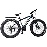 HUUH Fat Bike Snow Bike 26-inch Wheels 21 Speed Fat tyre Mountain Bike Bicycle Cruiser Bicycle Beach Ride,Medium High-Tensile Aluminum Frame,Mountain Bike/Mountain Bikes(17'', 21 Speed) (Black)