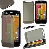ebestStar - Funda Compatible con Motorola Moto G, XT1032 Carcasa Cartera Proteccion Formato Libro, Silicona Gel Case Shock-Absorción + Mini Lápiz, Negro [Aparato: 129.9 x 65.9 x 11.6mm, 4.5'']