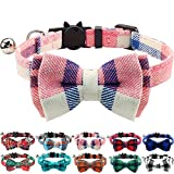 Joytale Cat Collar with Bell and Bow Tie, Quick Release Safety Collars for Kitten and Cats, Soft Tartan Collar, 1 Pack, Pink
