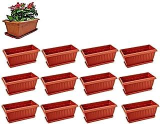 spylark Premium 3 Rectangle Planters - Plastic Pots (Pack of 12) 18 inch