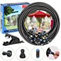 POCKET PANDA Misters for Outside Patio,50FT,Outdoor Misting Cooling System kit with 15 Brass Water Mist Nozzle,Filter Screen,DIY for Fan,Pool,Umbrella,Deck,Canopy,Porch.Backyard Mist Spray Hose