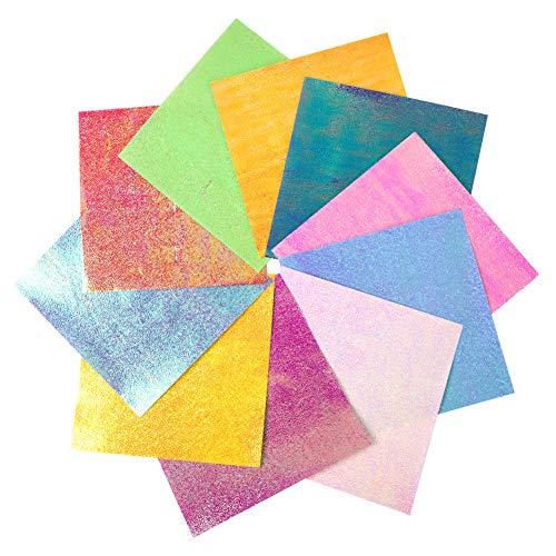 Papel para Origami, 100 hojas Shiny Single Sided 10 Rainbow Color Square...