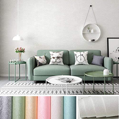 KINLO Selbstklebende Tapeten 0.61 * 5M PVC wasserfest Möbelfolie mit Seidenfaden Muster Wandaufkleber für Wohnzimmer TV Hintergrund Wand (Weiß-grau)