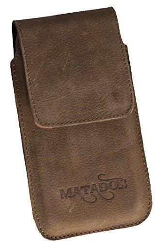 MATADOR Gürteltasche kompatibel mit iPhone 6 / 6s / SE 2020 Ledertasche Echt Leder Hülle Hülle Magnet Clip Schlaufe Tabacco Braun