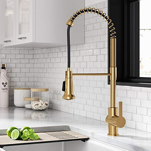 Kraus KPF-1691BB Britt Commercial Style Pull-Down Single Handle Kitchen Faucet, Brushed Brass