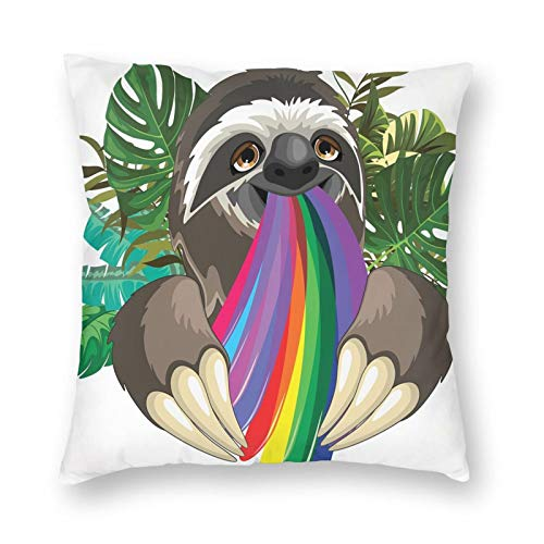 GULTMEE Indolent Jungle Animal Spitting Rainbow Colors On Banana Leaves Backdrop Happy Mood Printed Soft Decorative Square Throw Pillow Covers Cushion Covers Pillowcases,Couch 18 x 18in