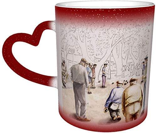 Taza que cambia de color italiana de la calle en el cielo Taza de cerámica Taza de café roja Regalo de cumpleaños de Navidad