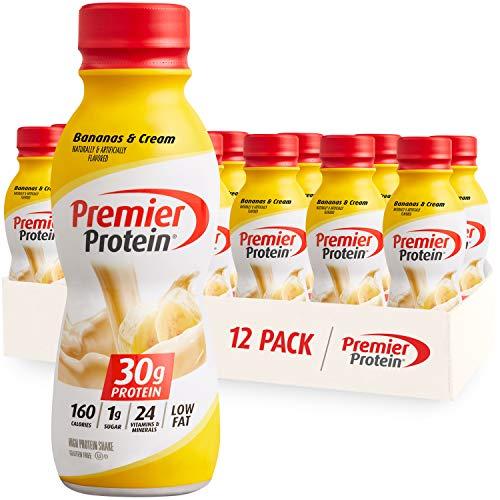 Premier Protein Shake, Bananas & Cream, 30g Protein, 1g Sugar, 24 Vitamins & Minerals, Nutrients to Support Immune Health, 12 Pack, 138.0 Fl Oz