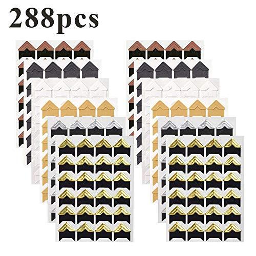 YuamMei 288 Piezas (12 Hojas) Esquinas de Fotos, Pegatinas de Esquina de Papel, Pegatinas Autoadhesivas para álbum de Fotos de Scrapbooking (6 Colores)