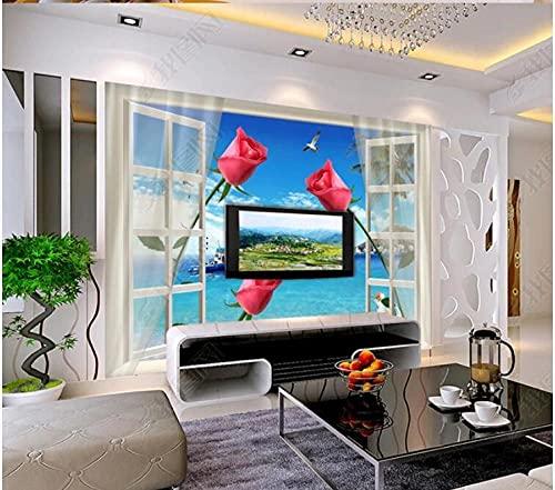 Väggmålning tapet 3D 3D stereo öppet fönster ros tv bakgrund vägg 400 cm x 280 cm