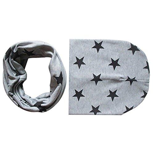 Bodhi2000, set di cappellino e sciarpa circolare per bambini piccoli, delizioso motivo a stelle Grey Taglia unica