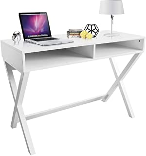 ChooChoo Writing Computer Desk, X Design Home Office Computer Desk or Makeup Vanity Table for Home Office, White