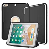 DUNNO iPad 6th/5th Generation Case (9.7 Inch, Released in 2017/2018), Three Layer Heavy Duty Full Protection Case with [Auto Sleep/Wake Up] Stand Design for iPad 5/6 Generation (Black+Gray)