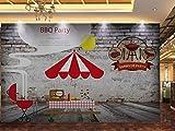 FVeng LIN Carpet Papier Peint Rétro Mur de Brique nostalgique Mur Barbecue Boutique Outillage Barbecue Affiche Photo Gym Yoga Salle Murale Magasin De Vêtements Décoration Sticker Mural-350cmx256cm