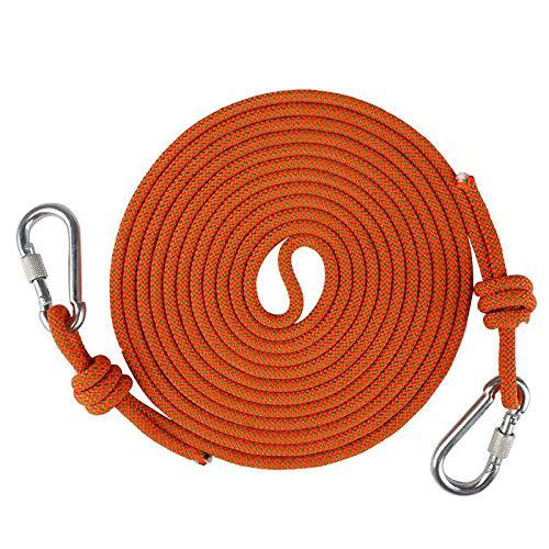 Cuerda de escalada con mosquetón,cuerda auxiliar de montañismo,cuerda de seguridad multiusos de 6 mm,para usos al aire libre,supervivencia de emergencia,camping,caza,pesca,escape,rescate de incendios