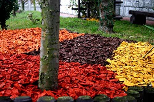 S 50L Wood Chip Coloured Garden Mulch Flower Bark Wedding Decorative Landscape (Red)