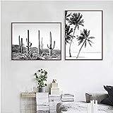 Tropical Cactus Poster Palma Hoja Lienzo Pintura Negro Blanco Pared Arte Impresiones Moderno Cuadros para Salon Habitación Escandinavo Decoracion 40X60cmx2 No Enmarcado