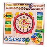 Backbayia - Reloj de juguete con cronógrafo y calendario, recordatorio de discos de madera, desarrollo intelectual