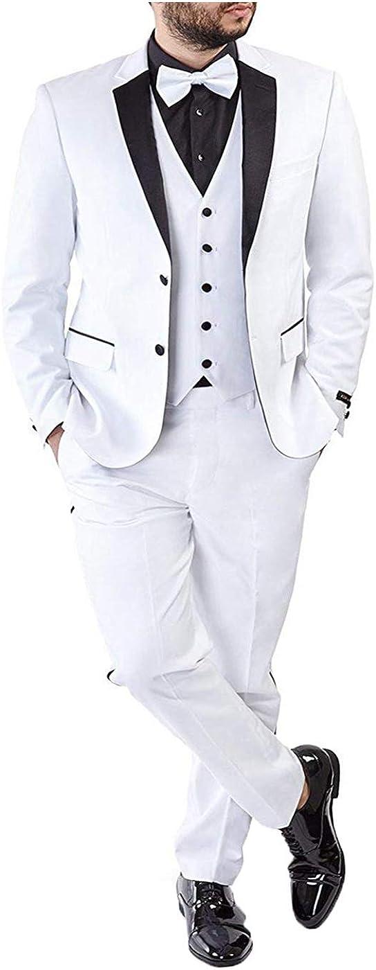 RONGKIM Men's Slim Fit Satin Notch Lapel 3 Pieces Suit Two Buttons Tuxedo Jacket Pants Tux Vest (White,52)