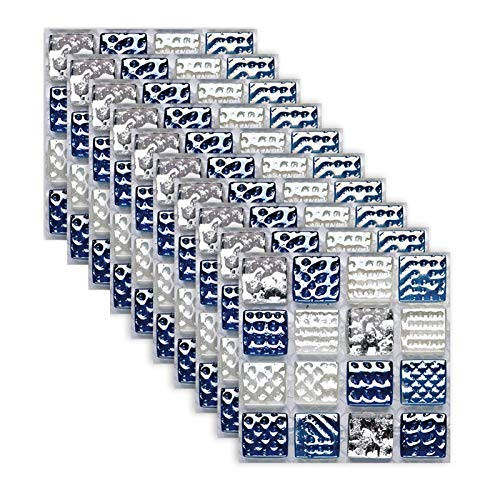 Bilibony Azulejos Adhesivo, 10pc Azul Mármol Mosaico Simulación De Mosaico Pegatinas Cocina Baño Lavabo De Baño Decoración De Baño Engrosamiento Autoadhesivo Impermeable Pegatinas De Pared
