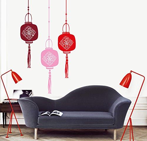 MYVINILO - Vinilo Decorativo - Shangai/Rosa/Rojo/Burdeos (50 x 150 cm)
