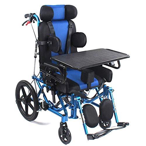 GWFVA Silla de Ruedas de aleación de Aluminio Totalmente acostada para niños/Adultos, sillas de Ruedas manuales para parálisis Cerebral discapacitadas con hemiplejía por accidente cerebrovascular