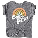 レトロなレインボーのバースデーガール用カラフルシャツ。赤ちゃんと幼児の女の子の誕生日衣装。 US サイズ: Youth - Small カラー: グレイ