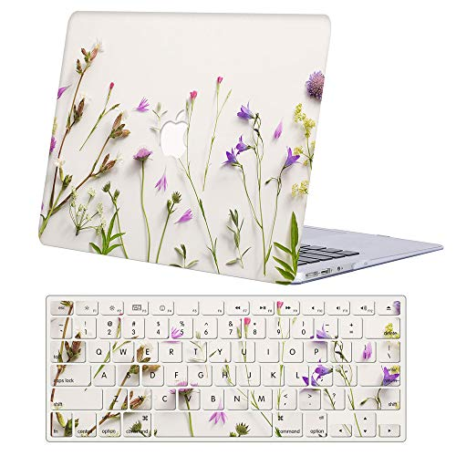 MacBook Air 13 inch Case 2020 2019 2018 Release A2337/A2179/A1932,AJYX Plastic Hard Shell Case & Keyboard Cover Skin for MacBook Air 13' with Retina Display & Touch ID, Flower