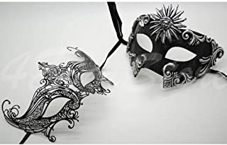 Roman Greek Black and Goddess Set - His & Hers Queen Masquerade Masks [Antique Black Themed] - New Year's Eve, Mardi Gras Theater