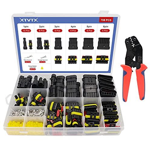 XTVTX 708 STÜCKE Wasserdicht Schnellverbinder Elektrische Stecker Set Nylon Schnellverbinder 1/2/3/4/5/6 Pin Kabel Steckverbinder Fit für KFZ Motorrad Auto Boots LKW