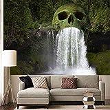 WERT Cabeza de cráneo Natural Cascada de pulverización de Agua Impresión 3D Tapiz de Pared Decoración del hogar Fondo de Pared Tapiz de Tela A3 150x200cm