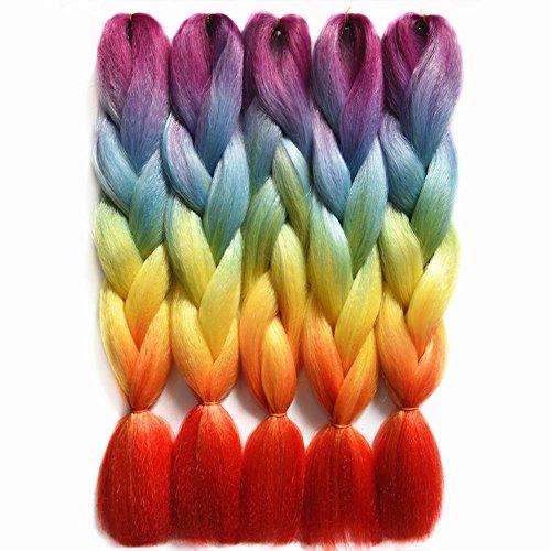 Feilimei-Ombre Rainbow Crochet Braiding Hair