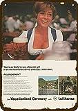 1968 Lufthansa Airlines Vintage Look Metal Sign Cute Munich Girl In Dirndl Dress 20 x 30 cm Tin Metal